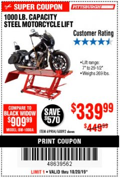 Harbor Freight Coupon 1000 LB. CAPACITY MOTORCYCLE LIFT Lot No. 69904/68892 Expired: 10/20/19 - $339.99