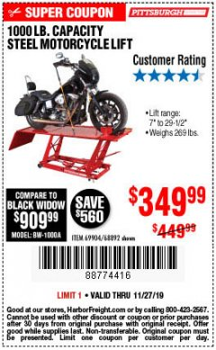 Harbor Freight Coupon 1000 LB. CAPACITY MOTORCYCLE LIFT Lot No. 69904/68892 Expired: 11/27/19 - $349.99
