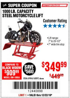 Harbor Freight Coupon 1000 LB. CAPACITY MOTORCYCLE LIFT Lot No. 69904/68892 Expired: 12/22/19 - $349.99