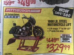 Harbor Freight Coupon 1000 LB. CAPACITY MOTORCYCLE LIFT Lot No. 69904/68892 Expired: 1/12/20 - $329.99