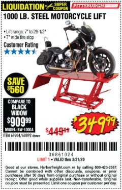 Harbor Freight Coupon 1000 LB. CAPACITY MOTORCYCLE LIFT Lot No. 69904/68892 Expired: 3/31/20 - $349.99