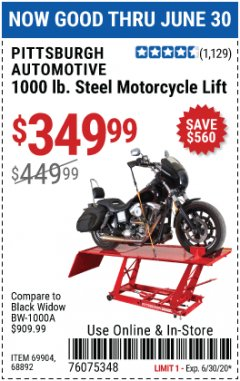 Harbor Freight Coupon 1000 LB. CAPACITY MOTORCYCLE LIFT Lot No. 69904/68892 Expired: 6/30/20 - $349.99