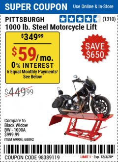 Harbor Freight Coupon 1000 LB. CAPACITY MOTORCYCLE LIFT Lot No. 69904/68892 Expired: 12/3/20 - $349.99