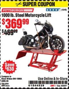 Harbor Freight Coupon 1000 LB. CAPACITY MOTORCYCLE LIFT Lot No. 69904/68892 Expired: 3/23/21 - $369.99