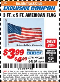 Harbor Freight ITC Coupon 3 FT. x 5 FT. AMERICAN FLAG Lot No. 95983 Expired: 12/31/18 - $3.99
