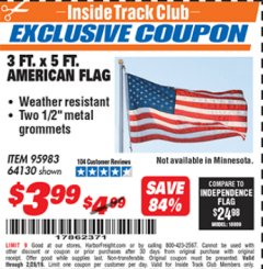 Harbor Freight ITC Coupon 3 FT. x 5 FT. AMERICAN FLAG Lot No. 95983 Expired: 2/28/19 - $3.99