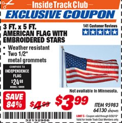 Harbor Freight ITC Coupon 3 FT. x 5 FT. AMERICAN FLAG Lot No. 95983 Expired: 9/30/19 - $3.99