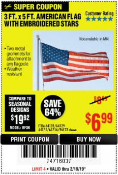 Harbor Freight Coupon 3 FT. x 5 FT. AMERICAN FLAG Lot No. 95983 Expired: 2/24/19 - $6.99
