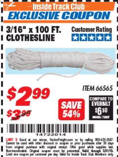 "Harbor Freight ITC Coupon 3/16"" x 100 FT. CLOTHESLINE Lot No. 66565 Expired: 5/31/18 - $2.99"