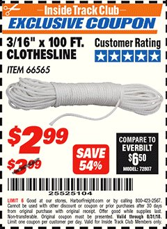 "Harbor Freight ITC Coupon 3/16"" x 100 FT. CLOTHESLINE Lot No. 66565 Expired: 8/31/18 - $2.99"