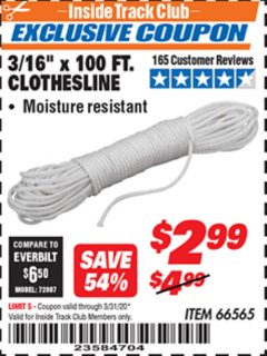 "Harbor Freight ITC Coupon 3/16"" x 100 FT. CLOTHESLINE Lot No. 66565 Expired: 3/31/20 - $2.99"