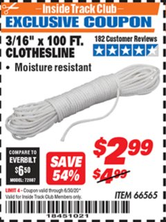 "Harbor Freight ITC Coupon 3/16"" x 100 FT. CLOTHESLINE Lot No. 66565 Expired: 6/30/20 - $2.99"