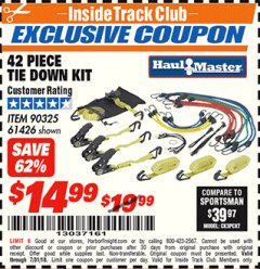 Harbor Freight ITC Coupon 42 PIECE TIE DOWN KIT Lot No. 61426/90325 Expired: 7/31/18 - $14.99