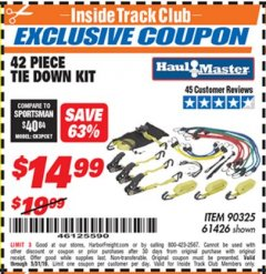 Harbor Freight ITC Coupon 42 PIECE TIE DOWN KIT Lot No. 61426/90325 Expired: 5/31/19 - $14.99