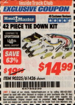 Harbor Freight ITC Coupon 42 PIECE TIE DOWN KIT Lot No. 61426/90325 Expired: 7/31/19 - $14.99