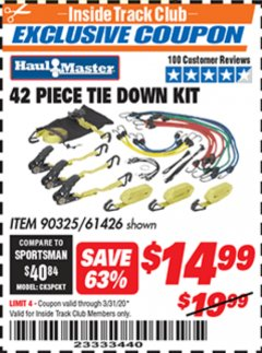 Harbor Freight ITC Coupon 42 PIECE TIE DOWN KIT Lot No. 61426/90325 Expired: 3/31/20 - $14.99