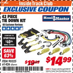 Harbor Freight ITC Coupon 42 PIECE TIE DOWN KIT Lot No. 61426/90325 Expired: 9/30/19 - $14.99