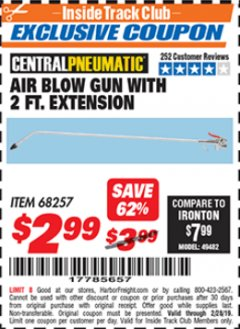 Harbor Freight ITC Coupon AIR BLOW GUN WITH 2 FT. EXTENSION Lot No. 68257 Expired: 2/28/19 - $2.99