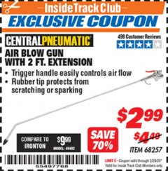 Harbor Freight ITC Coupon AIR BLOW GUN WITH 2 FT. EXTENSION Lot No. 68257 Valid: 2/1/20 - 2/29/20 - $2.99