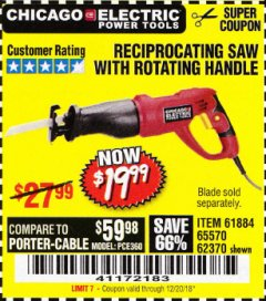 Harbor Freight Coupon RECIPROCATING SAW WITH ROTATING HANDLE Lot No. 65570/61884/62370 Expired: 12/20/18 - $19.99