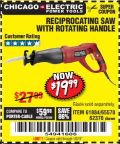 Harbor Freight Coupon RECIPROCATING SAW WITH ROTATING HANDLE Lot No. 65570/61884/62370 Expired: 1/6/19 - $19.99