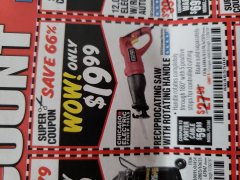 Harbor Freight Coupon RECIPROCATING SAW WITH ROTATING HANDLE Lot No. 65570/61884/62370 Expired: 11/30/18 - $19.99