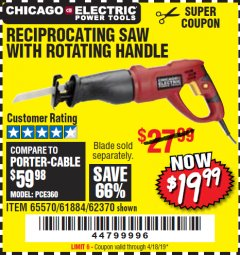 Harbor Freight Coupon RECIPROCATING SAW WITH ROTATING HANDLE Lot No. 65570/61884/62370 Expired: 4/18/19 - $19.99
