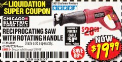 Harbor Freight Coupon RECIPROCATING SAW WITH ROTATING HANDLE Lot No. 65570/61884/62370 Expired: 5/31/19 - $19.99
