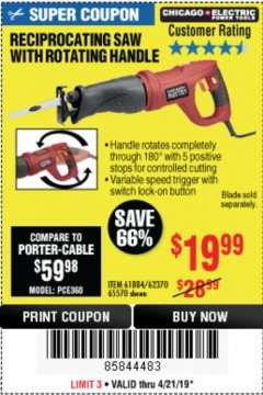 Harbor Freight Coupon RECIPROCATING SAW WITH ROTATING HANDLE Lot No. 65570/61884/62370 Expired: 4/21/19 - $19.99