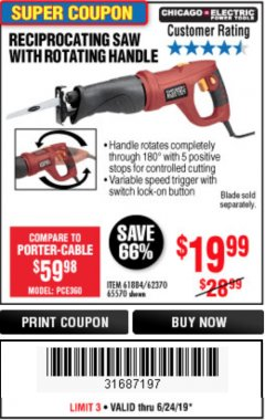 Harbor Freight Coupon RECIPROCATING SAW WITH ROTATING HANDLE Lot No. 65570/61884/62370 Expired: 6/24/19 - $19.99