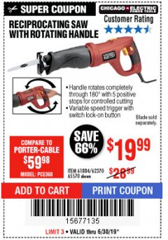 Harbor Freight Coupon RECIPROCATING SAW WITH ROTATING HANDLE Lot No. 65570/61884/62370 Expired: 6/30/19 - $19.99