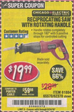 Harbor Freight Coupon RECIPROCATING SAW WITH ROTATING HANDLE Lot No. 65570/61884/62370 Expired: 8/24/19 - $19.99
