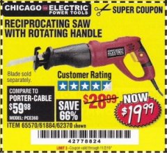 Harbor Freight Coupon RECIPROCATING SAW WITH ROTATING HANDLE Lot No. 65570/61884/62370 Expired: 11/2/19 - $19.99