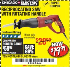 Harbor Freight Coupon RECIPROCATING SAW WITH ROTATING HANDLE Lot No. 65570/61884/62370 Expired: 6/30/20 - $19.99