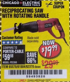 Harbor Freight Coupon RECIPROCATING SAW WITH ROTATING HANDLE Lot No. 65570/61884/62370 Expired: 1/6/20 - $19.99