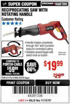 Harbor Freight Coupon RECIPROCATING SAW WITH ROTATING HANDLE Lot No. 65570/61884/62370 Expired: 11/13/19 - $19.99