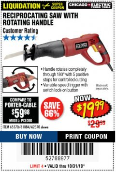 Harbor Freight Coupon RECIPROCATING SAW WITH ROTATING HANDLE Lot No. 65570/61884/62370 Expired: 10/31/19 - $19.99