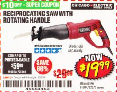 Harbor Freight Coupon RECIPROCATING SAW WITH ROTATING HANDLE Lot No. 65570/61884/62370 Expired: 11/30/19 - $19.99