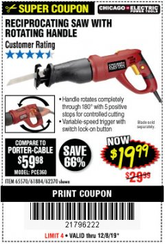 Harbor Freight Coupon RECIPROCATING SAW WITH ROTATING HANDLE Lot No. 65570/61884/62370 Expired: 12/8/19 - $19.99