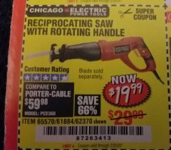 Harbor Freight Coupon RECIPROCATING SAW WITH ROTATING HANDLE Lot No. 65570/61884/62370 Expired: 2/20/20 - $19.99