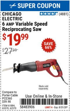 Harbor Freight Coupon RECIPROCATING SAW WITH ROTATING HANDLE Lot No. 65570/61884/62370 Valid Thru: 8/31/20 - $19.99