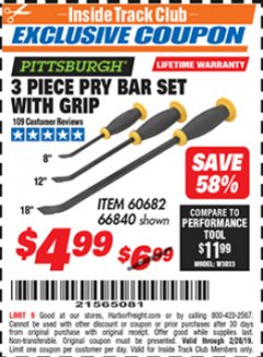 Harbor Freight ITC Coupon 3 PIECE PRY BAR SET WITH GRIP Lot No. 60682/66840 Expired: 2/28/19 - $4.99