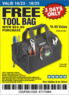 "Harbor Freight FREE Coupon 12"" TOOL BAG Lot No. 61467/62163/62349 Valid: 10/23/20 - 10/25/20 - FWP"