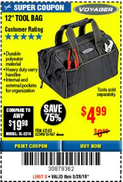 "Harbor Freight Coupon 12"" TOOL BAG Lot No. 61467/62163/62349 Expired: 5/28/18 - $4.99"