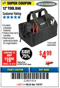 "Harbor Freight Coupon 12"" TOOL BAG Lot No. 61467/62163/62349 Expired: 7/8/18 - $4.99"