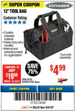 "Harbor Freight Coupon 12"" TOOL BAG Lot No. 61467/62163/62349 Expired: 8/5/18 - $4.99"