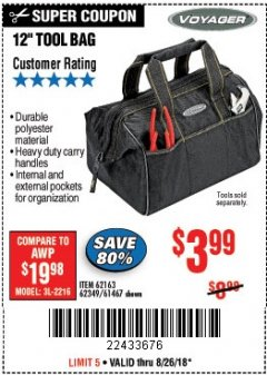 "Harbor Freight Coupon 12"" TOOL BAG Lot No. 61467/62163/62349 Expired: 8/26/18 - $3.99"