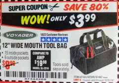"Harbor Freight Coupon 12"" TOOL BAG Lot No. 61467/62163/62349 Expired: 12/31/18 - $3.99"