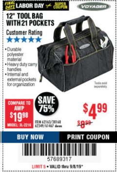"Harbor Freight Coupon 12"" TOOL BAG Lot No. 61467/62163/62349 Expired: 9/8/19 - $4.99"