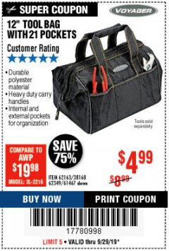 "Harbor Freight Coupon 12"" TOOL BAG Lot No. 61467/62163/62349 Expired: 9/29/19 - $4.99"